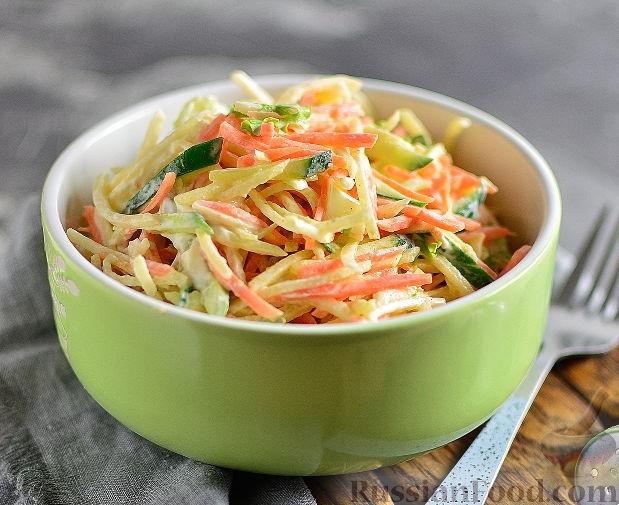 салат из редьки с огурцом и морковью